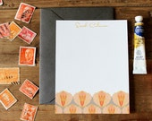 Artichoke Pattern Flat Notes / Corals and Taupe - Set (10)
