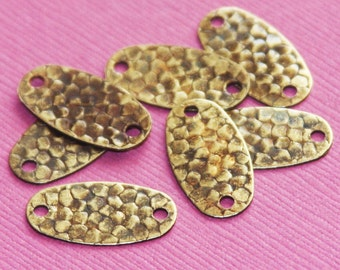 50 pcs of Antique brass hammered Oval links 19x10mm
