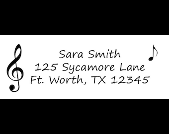 30 Personalized Return Address Labels  - Music Design