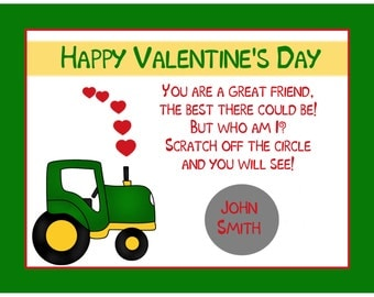Personalized Scratch Off Valentine's Day Cards for Kids - Tractor