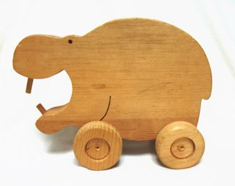 Vintage Wooden Hippo Toy