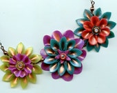 Corsage Necklace -  Handmade Polymer Clay Flowers