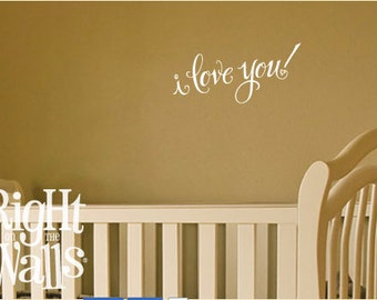 """I Love You Vinyl Decal Message 12.5"""" wide Vinyl Wall Art Removable Wall Decor with Love Wall Decal Message"""