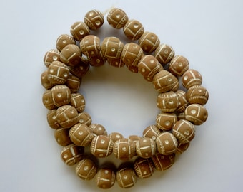 handmade African ceramic beads tan and white, circle of stones, jewelry making supplies