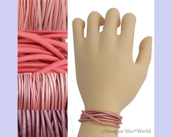 Custom Pink LEATHER Cord Wrap Bracelet up to 72 inches long - choose shade, diameter, length, clasp color - 1.5 mm,  2 mm or 3 mm