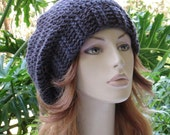 SALE SHOP CLOSING Oct 31...Hats 10 Dollars...Grapite Gray Crocheted Slouchy Winter Hat ... Beret Ski Hat Tam Snood Rasta  ...  Ready-to-Ship
