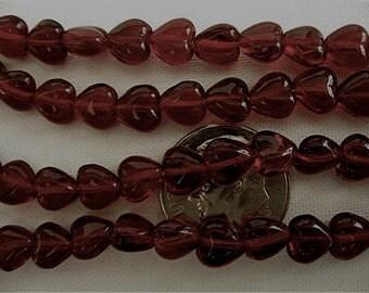 100 Garnet Red Czech Glass Heart Beads 6mm
