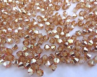 48 Metallic Sunshine Swarovski Crystals Beads Bicone 5328 4mm