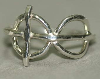 Cross Infinity Eternity Ring, Christian Faith Jewelry, Fine Silver, Rustic Sideways Cross Ring, Size 8, Handmade by Maggie McMane Designs