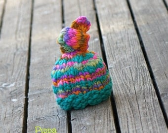NEWBORN Photography Prop - Baby Knit Hat  - Twin Prop - Handdyed and Handspun yarn