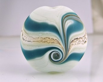 Etched Pale Green Teal Silvered Ivory Lampwork Focal Bead Handmade Artisan Glass Beads