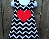 Pinafore Size 3T --- Valentine Reversible Pinafore (((ready to ship)))