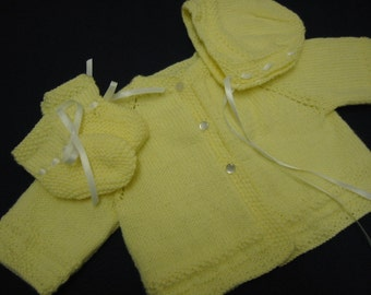 Baby Sweater Set, Hand Knit Sweater Bonnet Booties, 3-6 Months, Yellow, Baby Girl, Reborn Doll, Baby Shower Gift, Christening, Baptism