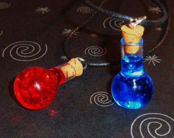 Pair of Health and Mana Potion Necklaces - Friendship Necklace Set