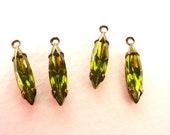 6 Vintage Green Olivine Navette Glass Drops 15x4 Stone in Antique Brass Settings 1 Ring Closed Backs Faceted Rhinestone Drops