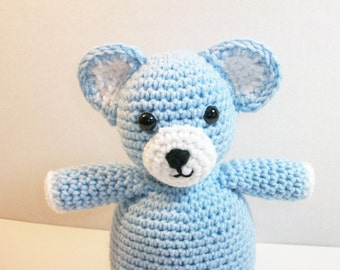 Plush Toy Teddy Bear, Cuddle-Me Bear in Blue, Huggable Toy Teddy Bear, Baby Toy, Soft Toy Bear, Baby's First Teddy, Baby Gift, Ready-to-Ship