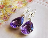 Transparent Classy Simple Lavender Glass Jewel Earrings