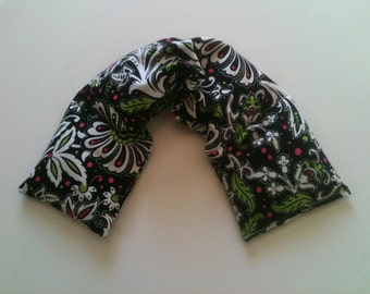 Heat Pack or Cold Therapy Wrap/ Neck Shoulder/ Flax Seed,Mint, Lavender - Electric Floral