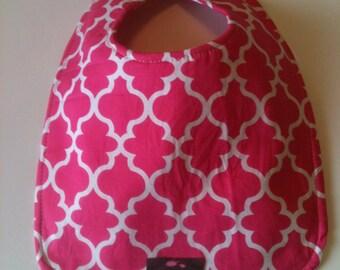 Baby Bib - Pink  Lattice 10 x 12.5