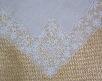 Vintage White Lace Bridal Hanky - Hankie Handkerchief