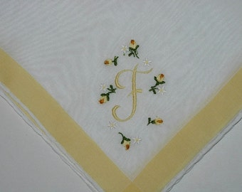 Vintage White Hanky with a Yellow F Embroidered in One Corner -  Hankie Handkerchief