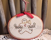 Hand Stitched Christmas Tree Ornament, Ginger, Gingerbread, Red Ribbon