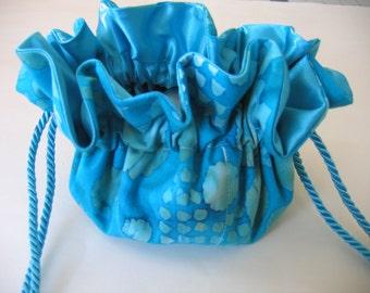 Jewelry Pouch Jewelry Bag Turquoise Cotton Batik Print