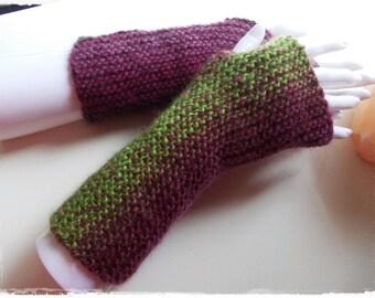 Fingerless gloves 100% wool handknitted hand knit mittens arm warmer wrist cozy gauntlets soft luxury warm organic winter yarn pure wool