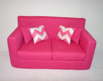 18 Inch Doll Couch - Sofa -  Pink  -  Handmade Doll Furniture