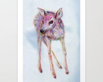 Fawn Art Print Illustration Color Pencil