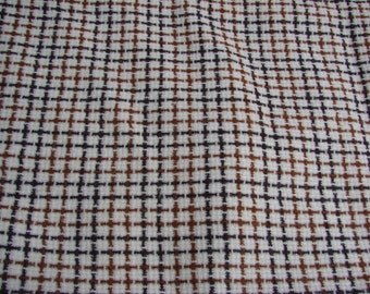 2 Yards of Vintage Brown and Tan Check Bonded Acrylic Fabric