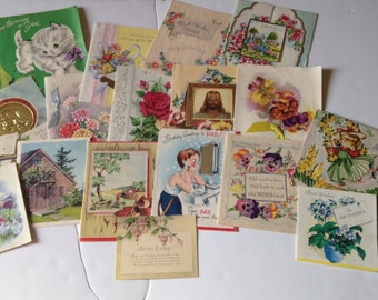 Lot of 17 Vintage Birthday Cards with Great Old Handwriting