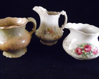 Set of 3 Vintage Well Loved Floral Cream Pitchers/Creamers