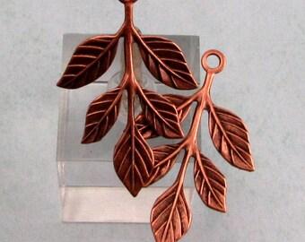 Leaf Sprig Pendant, Antique Copper, 2 Pc. AC165