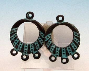 Earring Hoop, Mykonos Casting, Green Patina, 2 Pieces, M344