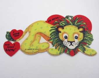 Vintage Children's Novelty Valentine Greeting Card with Stuffed Animal Lion