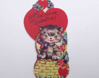 Vintage Children's Novelty Valentine Greeting Card with Adorable Tabby Cat in Basket and Flowers