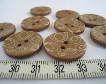 20 pcs of  Graphic Swirl Printed  Button - 23mm Earth Brown
