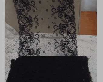 Vintage Scalloped Edge BLACK LACE - 7 Inches Wide - YARDAGE - Stylized Flower Swirl Design - Rare and Unusual