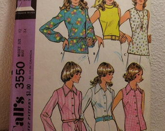 Vintage McCall's Blouse Pattern 1970's Top Pattern 3550 Pullover Blouse Buttoned Blouse Semi Fitted Blouse Womens Size 12 Bust 34 Medium