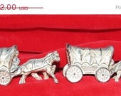 On Sale Now Vintage Cast Metal Coverd  Wagon Train Salt & Pepper Shakers, Hollywood, Los Angeles, Western, Wild West