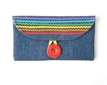 cash envelope wallet. cute rainbow checkbook case. ric rac denim fabric checkbook holder. coupon wallet ric rac gift