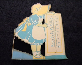 Vintage Sunbonnet Sue Thermometer Holder Weather Girl