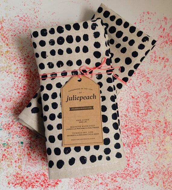 black pebbles. block printed linen napkins. set of four / hand printed / placemats