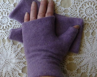 Lavender Upcycled Warm and Cozy Medium - Large Winter Cashmere Fingerless Gloves