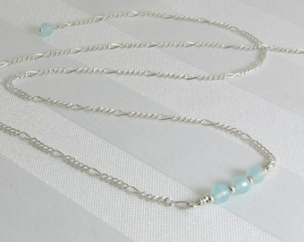 Faceted Aqua Chalcedony and Sterling Silver Chain Adjustable Bar Necklace