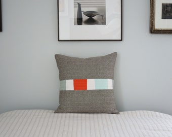 Modern Throw Pillow -  Linen Triptych