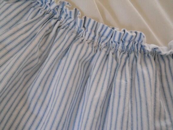 vintage custom made bed skirt soft blue white mattress