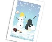 Postcard- Penguin & Peep Build a Snowman