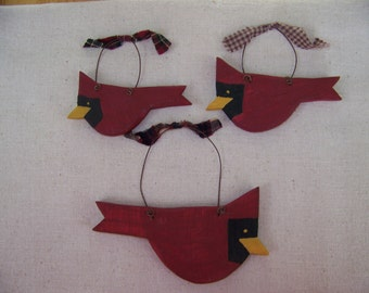 Set of 3 Wooden Cardinal Ornaments